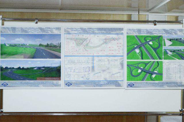 Справа - план и вид путепровода.