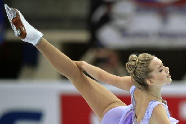 Елена Радионова выступает в произвольной программе женского одиночного катания V этапа Гран-при по фигурному катанию в Москве.