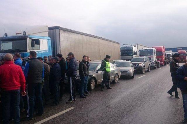 Акция протеста дальнобойщиков.