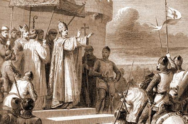 Папа Урбан II на Клермонском соборе благословляет крестовый поход.