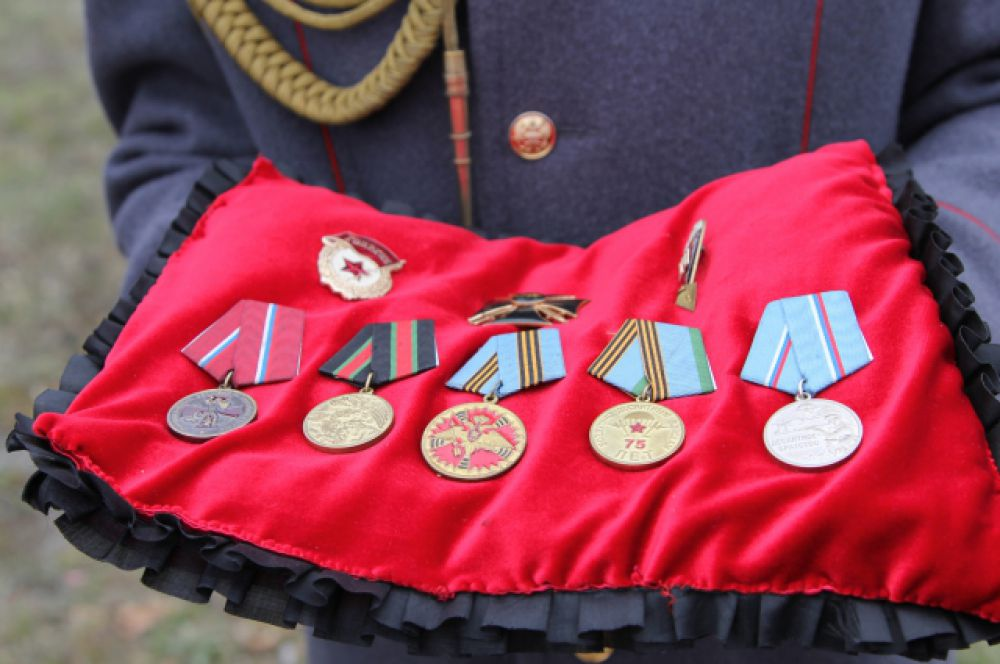 Ордена и медали матроса контрактной службы Александра Позынича. Орден Мужества – на отдельной подушечке.