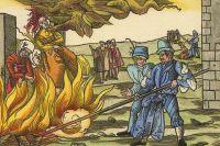 Сжигание ведьм у замка Рейнштейн (близ г. Бланкенбург). 1555 г.