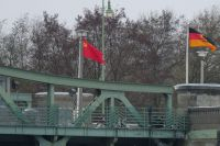 Глиникский мост во время съёмок фильма «Шпионский мост».