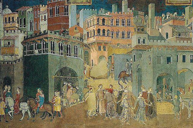 Амброджо Лоренцетти. Плоды доброго правления. Фреска. 1337—1339 гг.