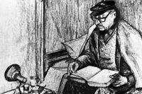 Репродукция рисунка Лаунера «Корвалан в тюрьме изучает французский язык».
