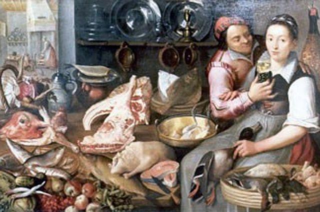 Репродукция одной из похищенных картин Флориса ван Шутена — «Кухня Пьеса», XVII век.