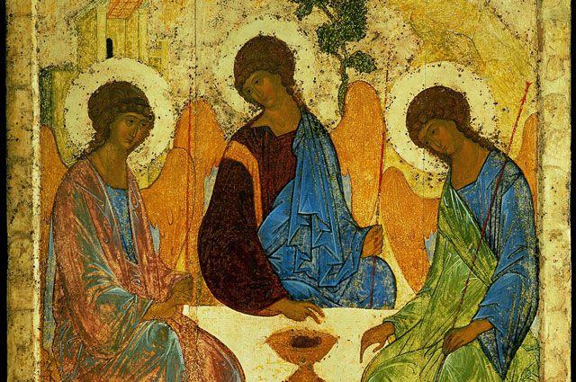 Репродукция иконы «Троица» Андрея Рублева, ок. 1411 г.