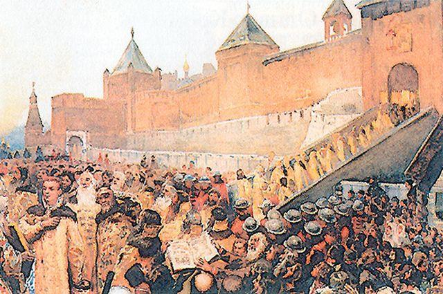 Картина «Вступление войск Лжедмитрия I в Москву» художника Клавдия Лебедева (1852-1916)