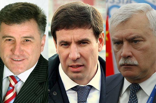Топ-3 антирейтинга глав промышленных регионов в 2013 году: Сергей Боженов, Михаил Юревич, Георгий Полтавченко.