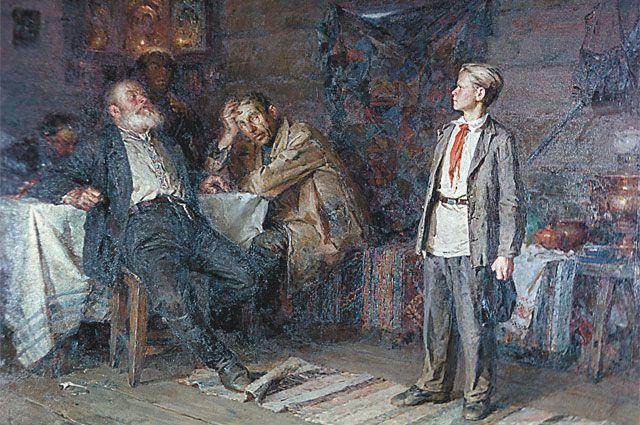 «Подвиг» Павлика в СССР был воспет. Репродукция картины художника Никиты Чебакова «Павлик Морозов» (1952 год).