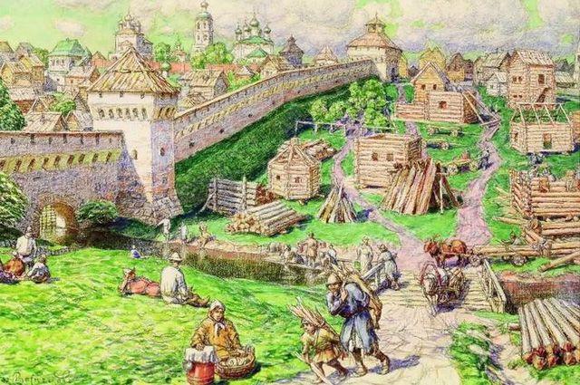 Лубяной торг на Трубе в XVII веке. А. Васнецов (1856–1933).