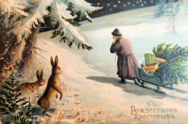 Зимний пейзаж часто изображался на русских открытках.