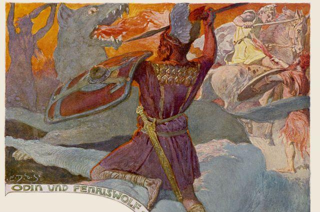 скандинавский бог Один погибает в битве с волком Фенриром