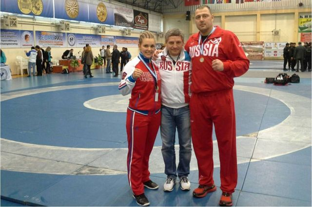 Александр Румянцев и Екатерина Барышникова с тренером.