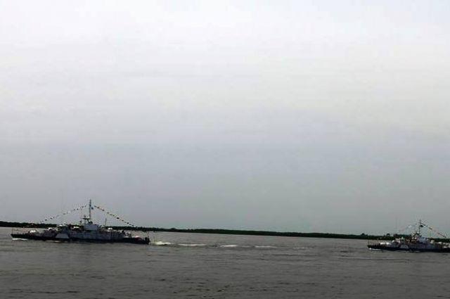 Корабли на Амуре у Хабаровск