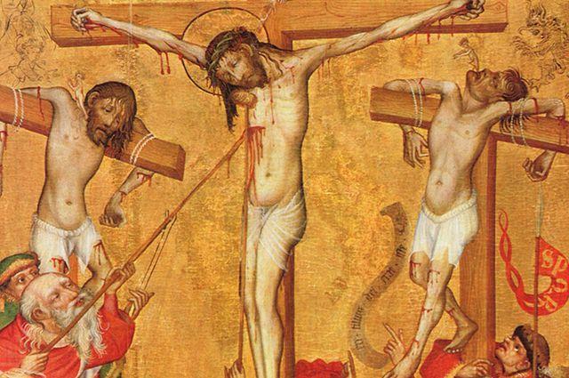В этот момент обычное оружие стало тем самым Копьём Судьбы. Фрагмент иконы «Распятие».