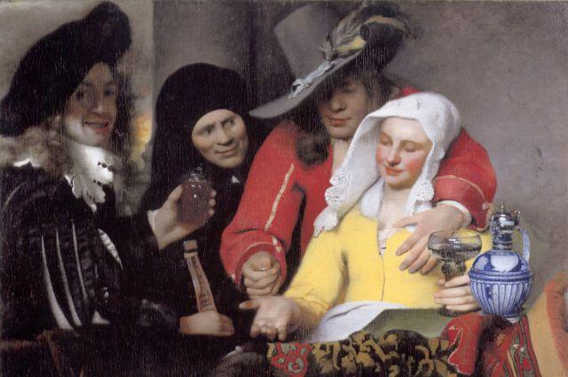 Фрагмент картины Яна Вермеера «Сводница», 1656 год. Считается, что персонаж слева — автопортрет.