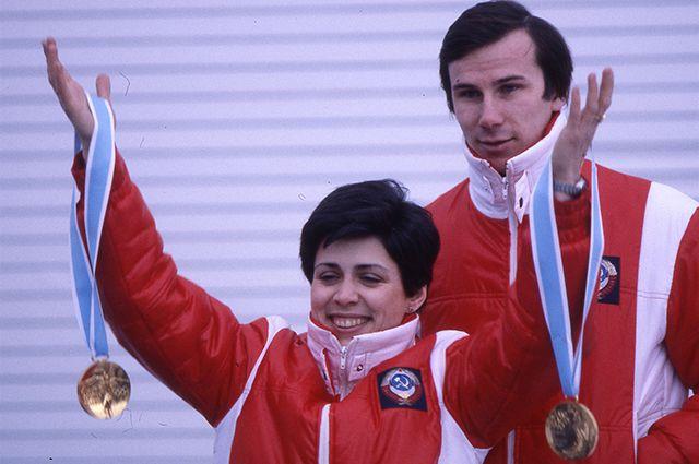 Ирина Роднина и Александр Зайцев - чемпионы Олимпиады-80 в парном катании.