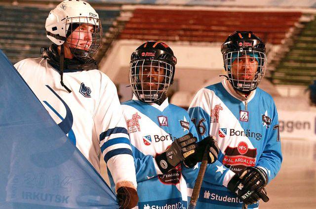 Сомалийские хоккеисты на открытии Чемпионата мира по бенди в Иркутске.