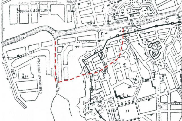 План Смоленска 1776 года. Красным пунктиром выделен Пятницкий конец.
