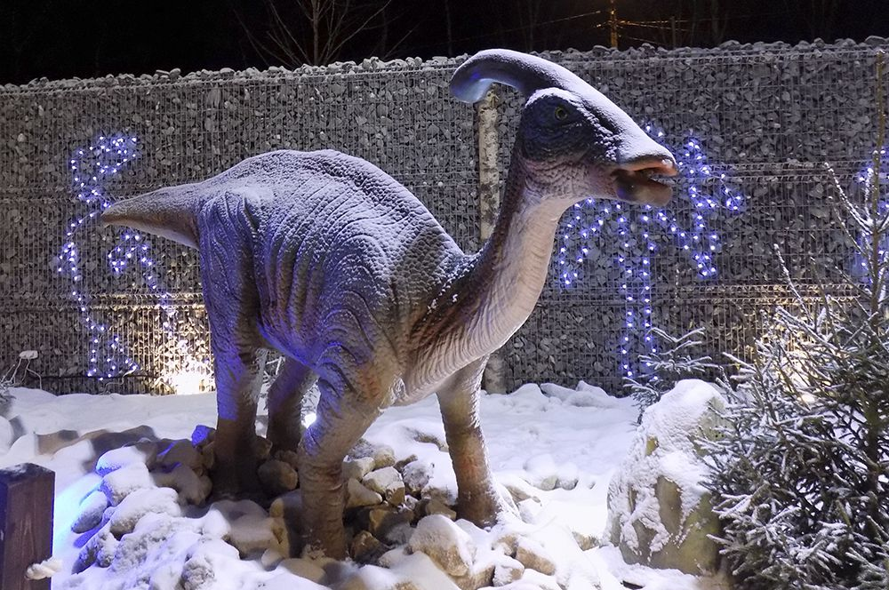 Многие представленные здесь динозавры при жизни были совсем безобидны.