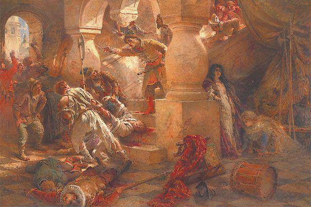 1606 .: пока москвичи резали поляков на улицах, Шуйский со своими людьми брал штурмом Кремль. Картина «Убийство Лжедмитрия».