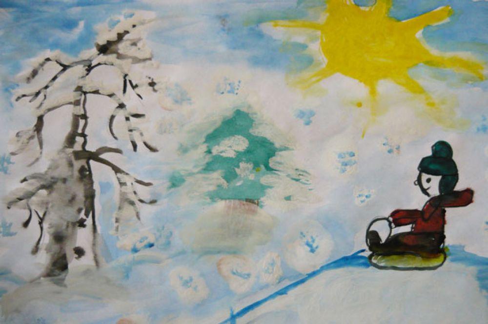 Участник №21.   Кондратьев Алексей, 5 лет: Санки, снег, каток и горка- Вот, что радует ребенка. Лёшик саночки возьмет, С собою маму повезёт! На каток пойдет он с папой, Снег сгребёт с катка лопатой, Оттолкнется, побежит, Только снег в лицо летит!