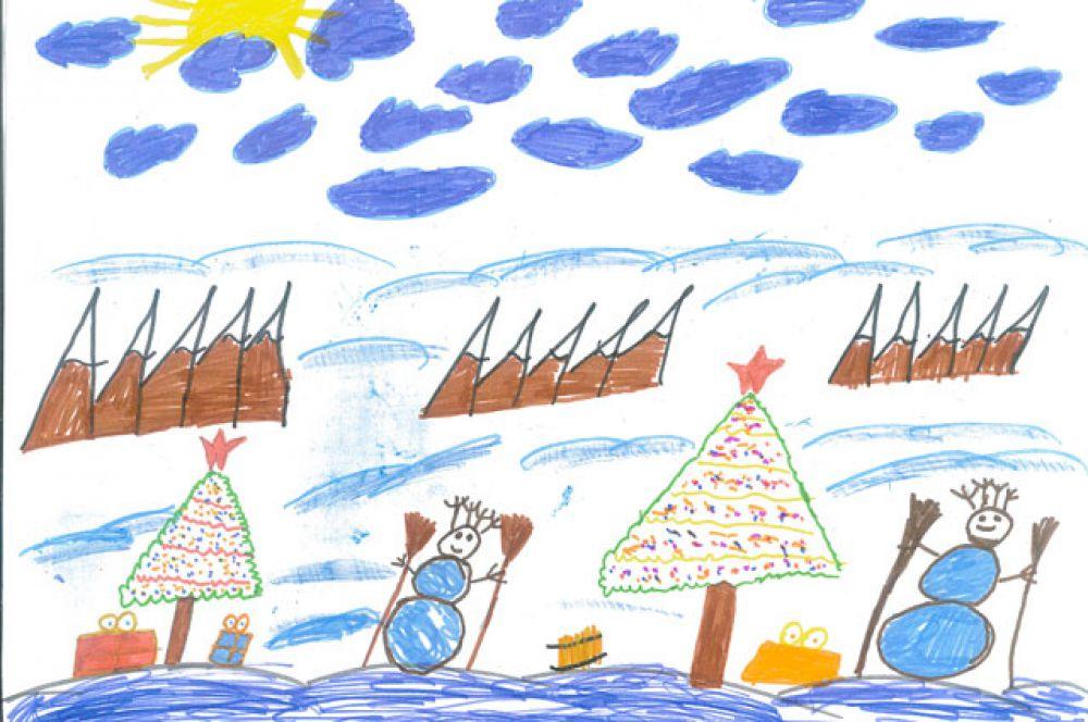 Участник №5.  Шелехов Александр, 9 лет: МБОУ средняя общеобразовательная школа №50. На весёлых детских ёлках  Чудеса блестят в иголках.  Здесь, под ёлкой, в Новый год  Каждый что-нибудь найдёт.  Надо лишь заранее  Загадать желание!