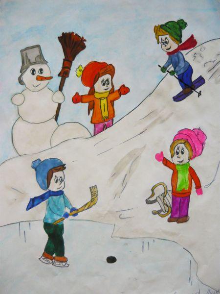 Участник №20.  Ещенко Елизавета, 5 лет: Во дворе стоит гора. Мы катаемся с утра. Снеговик-бедняжка злится, Что не может прокатиться.