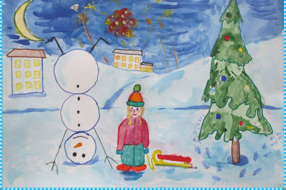 Участник №10. 2. Карикова Даша 7 лет: Я обожаю Новый год: Салюты, ёлку, смех! И возле дома Снеговик Стоит мой выше всех!
