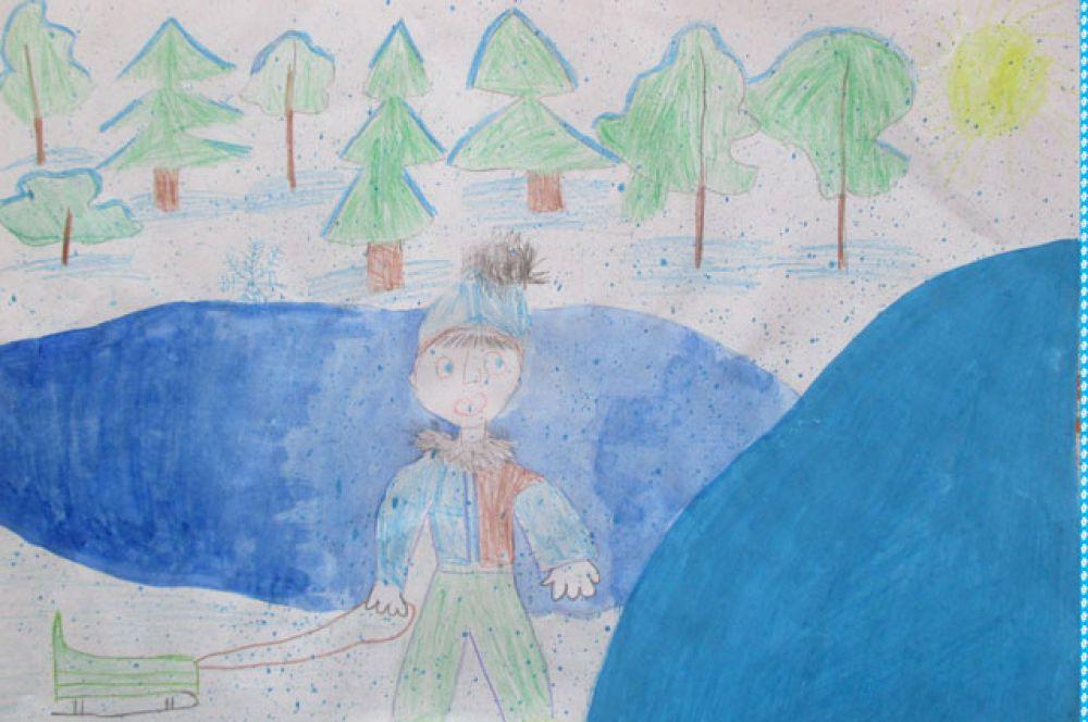 Участник №12. Бичевин Илья, 6 лет: С утра, лишь солнышко встаёт, Бегу скорей на горку! Меня там столько счастья ждёт! Веселье без умолку!