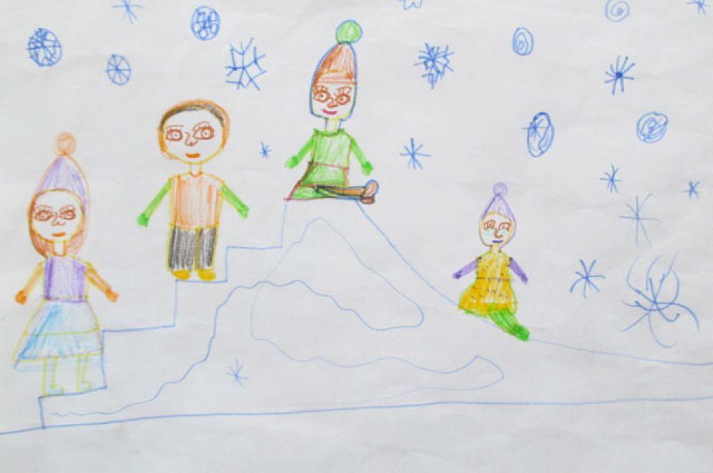 Участник №13. Безрукина Ира, 7 лет: С горки быстро я лечу Весело с друзьями! А потом домой бегу К моей милой маме!