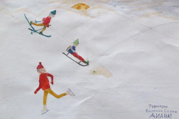 Участник №14. Трифанова Диана, 6 лет:  Мы ездили в горы, катались на лыжах. Такой был восторг, что не передать! Когда край горы всё ближе и ближе… А ты смог доехать, ты смог устоять!