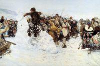 """Фрагмент картины """"Взятие снежного городка""""."""