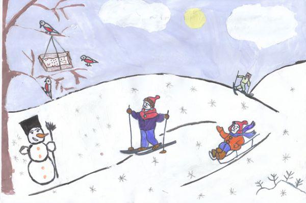 Участник №83. Стравинский Игорь: Зимой выпадает много снега. Прилетают красивые птички – снегири. Люди кормят птиц, насыпая им зерна. А так же люди катаются на коньках, лыжах и санках. Из снега лепят снеговика, ледяные крепости, прячутся за стеной и весело играют в снежки.