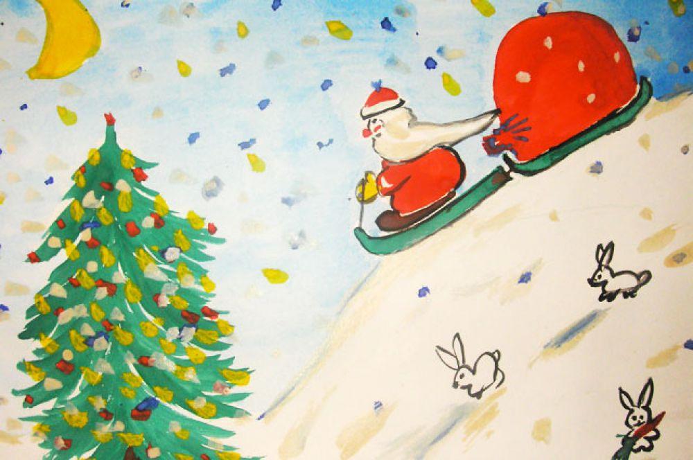 Участник №59. Худов Кирилл: Зима – это ёлка, Дед Мороз и подарки. Я желаю всем детям целый воз подарков, чтобы у каждого Зайчика была своя морковка, а мне Дед Мороз положил бы под ёлку машинку!
