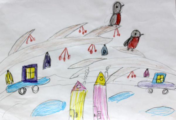 Участник №62. Семенова Маргарита: Когда я рисовала эту картину, то представляла себе нашу зиму: белый снег, деревья в белом инее, белые снежинки, белые ледяные горки, прозрачные сосульки. Все белым-бело. Очень хочется в такие снежные деньки красок! И я сказала: