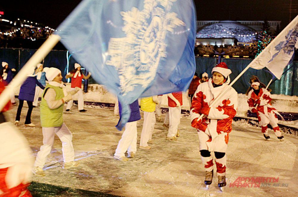 Организаторы открытия подготовили целое ледовое шоу для зрителей.