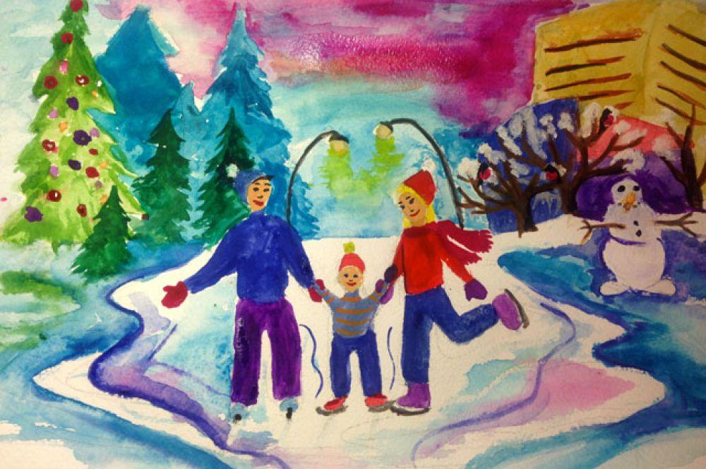 Участник №109. Плетюх Милена: Зима-прекрасная пора! И радостное время года Снегами скрашена природа И любит зиму вся семья!  Прекрасны улицы и парки С горы летят цветные санки И режут новый лед коньки А в рощах свежий след лыжни..  Краснеют улицы закатом Мороз щекотит, но приятно И мы идем пить чай с катка Зима - прекрасна пора!