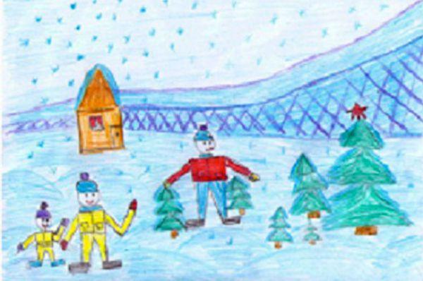 Участник №115. Дудина Мария: Зима – это время года, которое наступает после осени. Зимой бывают морозы, поэтому люди надевают теплую одежду. Падает снег – снегопад. Снежинки летают, порхают, кружатся. Снег холодный, липкий. Из него можно лепить снеговика, крепость. Взрослые и дети любят зимние забавы: санки, лыжи, коньки, снежки.