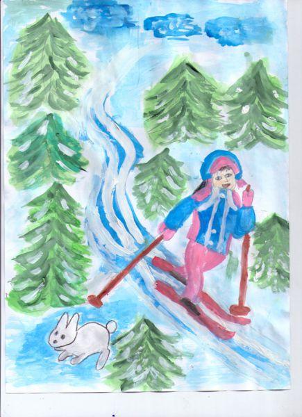 Участник №120. Духовникова Алиса: В зимний день я не скучаю, Быстро лыжи надеваю. В руки я беру две палки С ветерком играю в салки!