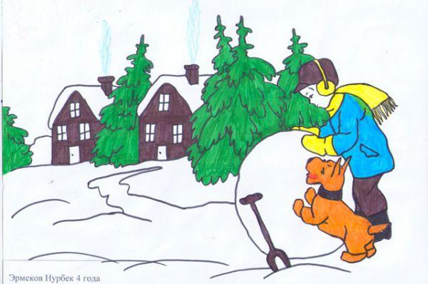 Участник №136. Эрмеков Нурбек: Снег – на крыше, на крылечке. Солнце в небе голубом. В нашем доме топят печки, В небо дым идет столбом.
