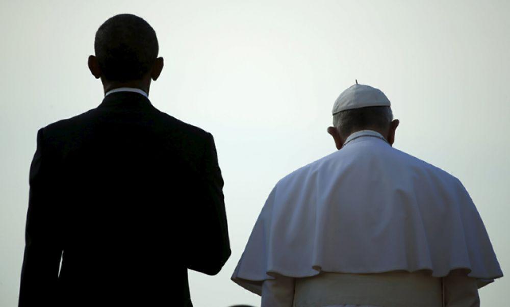 Президент США Барак Обама и Папа Римский Франциск на встрече в Белом доме, 23 сентября 2015.