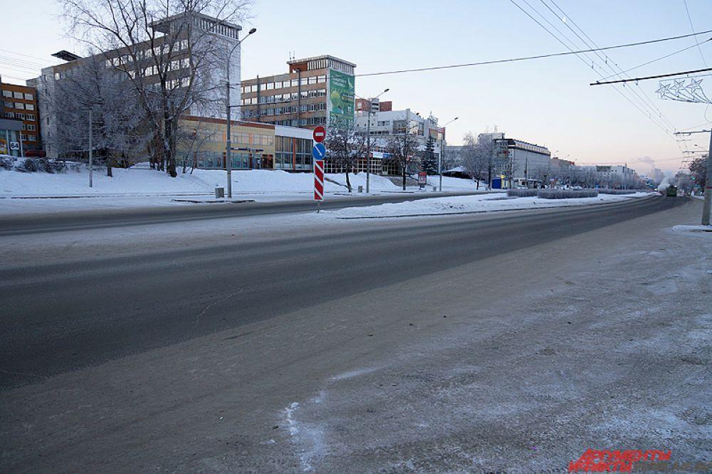 Центр города совсем пустой.