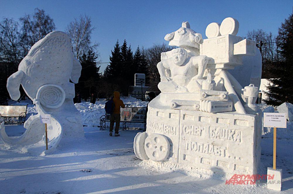 Главной темой новогоднего праздника в Новосибирске стало кино. И некоторые скульптуры посвятили знаменитым советским фильмам.