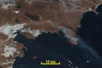 Вот так выглядит этот пожар на космическом снимке VIIRS от 10 января 2016 года.
