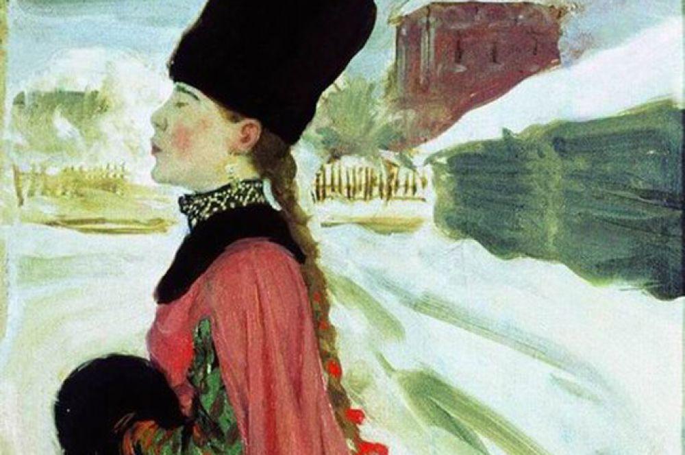 Сверху надевалась душегрея или шуба. Знатные женщины любили носить муфты – рукава, шитые мехом внутрь и с меховой опушкой.