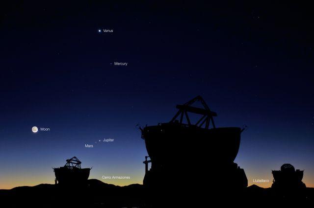 Четыре планеты и Луна перед рассветом на обсерватории Параналь