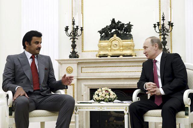 Эмир Катара Тамим Бен Хамад Аль Тани и Президент РФВладимир Путин.