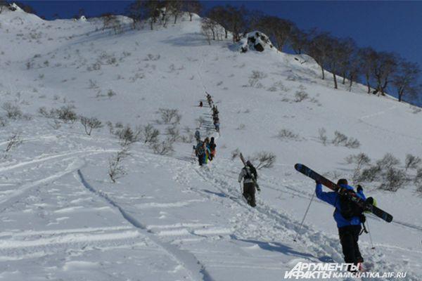 Камчатка - рай для сноубордистов и лыжников. Не умеете кататься? Спуск с горы на аргамаке тоже будет незабываемым!
